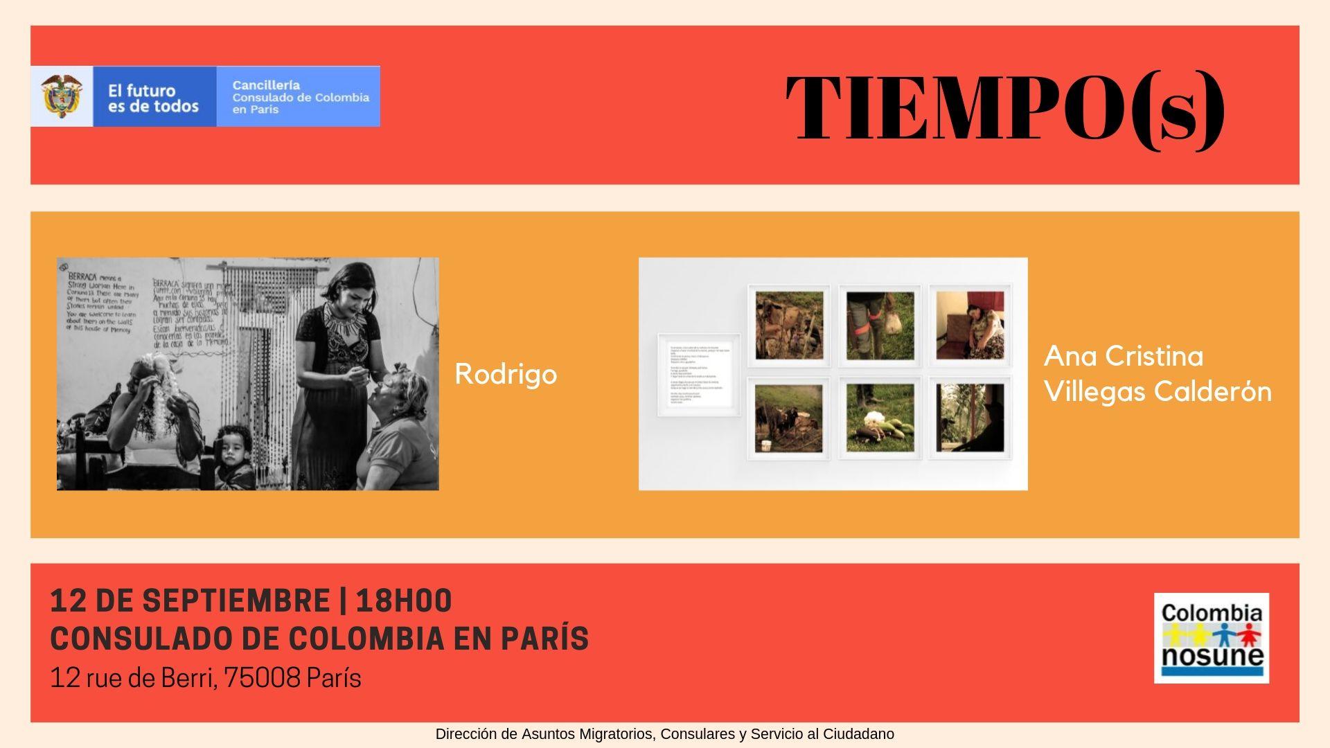 Invitación a la inaguración de la exposición 'Tiempos' en el Consulado de París